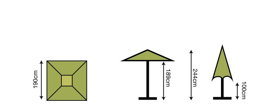 1.9m Square Parasol