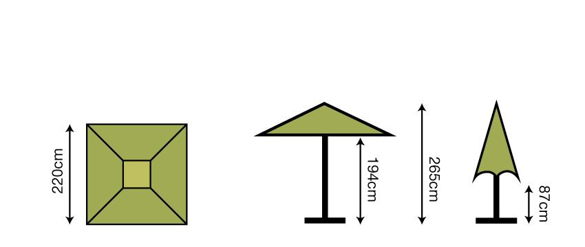 2.2m Square Parasol