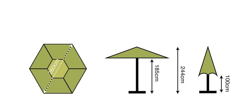 2.6m Hexagonal Parasol