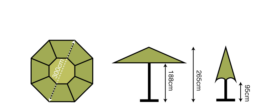 3m Octagonal Parasol