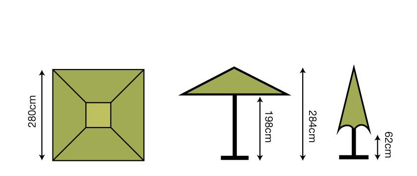 2.8m Square Parasol