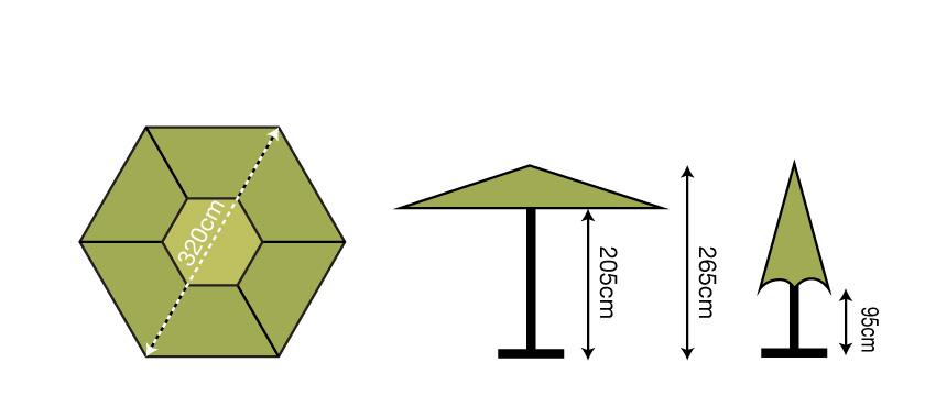 3.2m Hexagonal Parasol