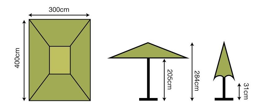 3x4m Rectangular Parasol